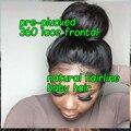 8А Шелк Прямо 360 Кружева Фронтальная Закрытие Предварительно Сорвал Бразильские 360 Кружева Девственные Волосы Кружева Группа Фасады Отбеленные Узлы 22x4x2
