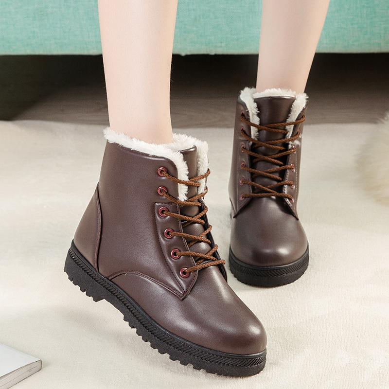 Women fashion pu leather Short Boots Classical 2017 Women Lace Up Ankle Martin Boots Ladies Sewing Flat Shoes Black