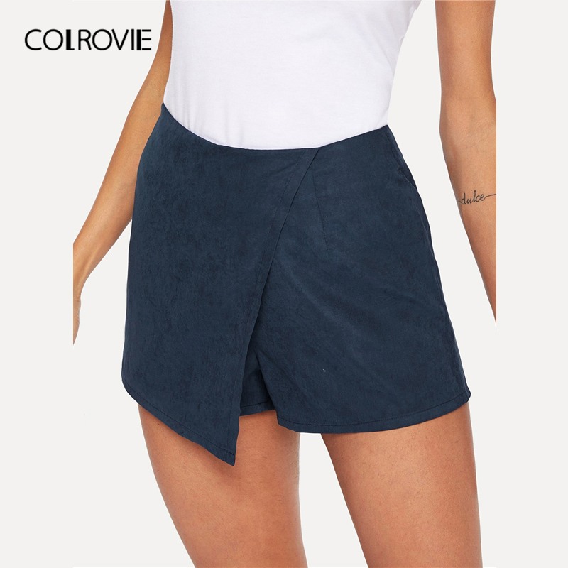COLROVIE Navy Solid Zipper Side Casual Skirt Women Clothing 2019 Summer Streetwear Korean Wrap Skirt   Shorts   Office Ladies   Shorts