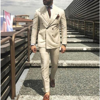 Latest Coat Pant Designs Beige Double Breasted Men Suit Slim Fit 2 Piece Formal Man Wedding Suit Custom Made (jacket+pant)