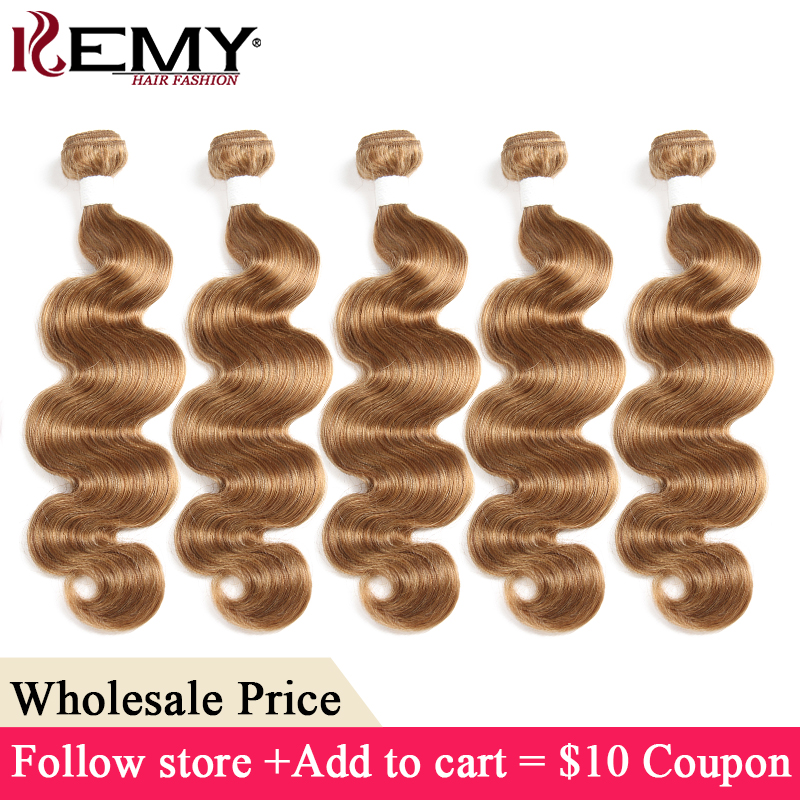 Honey Blonde Human Hair Bundles KEMY HAIR Brazilian Body Wave Hair Extensions Wholesale Price Non-Remy Hair 3-7 Days to Deliver(China)