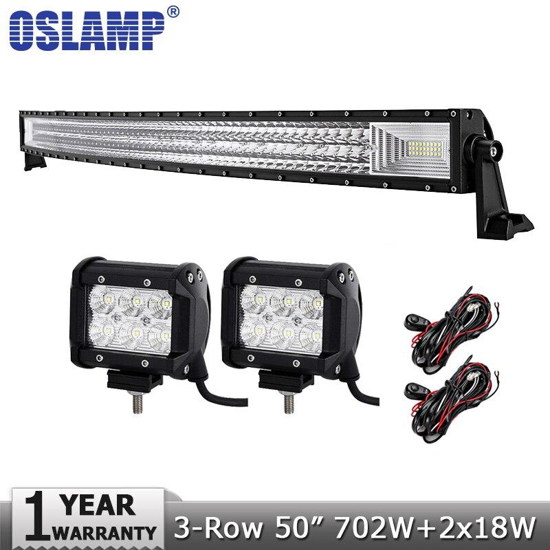 Oslamp 50 702W 3-Row Curved LED Light Bar Offroad+2x18W Spot Flood Beam Led Work Light for 12v 24v Truck ATV SUV Pickup 4WD 4x4
