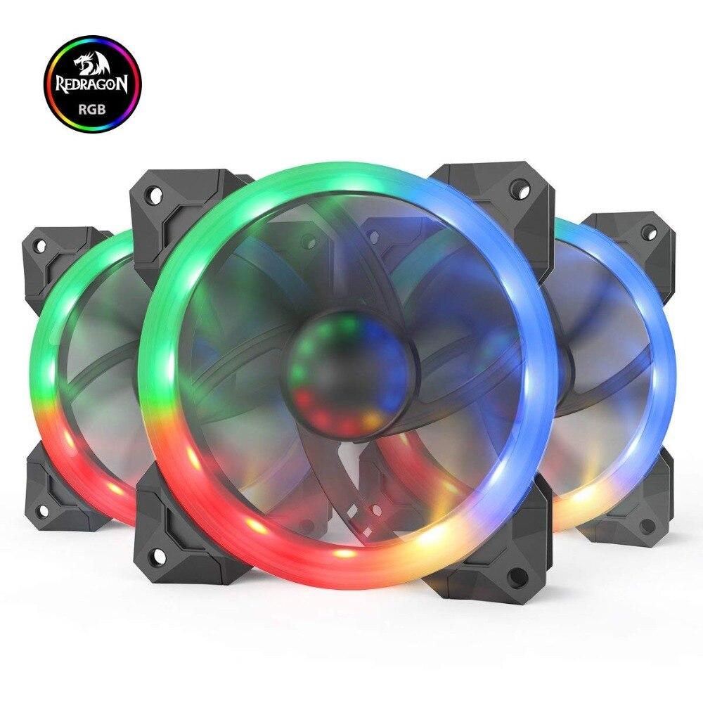 Redragon 3 Pack refroidisseur de processeur GC-F008 120mm PC contrôleur de ventilateur rvb LED dissipateur thermique Gadget Inter tampons thermiques refroidisseur silencieux maître brouette