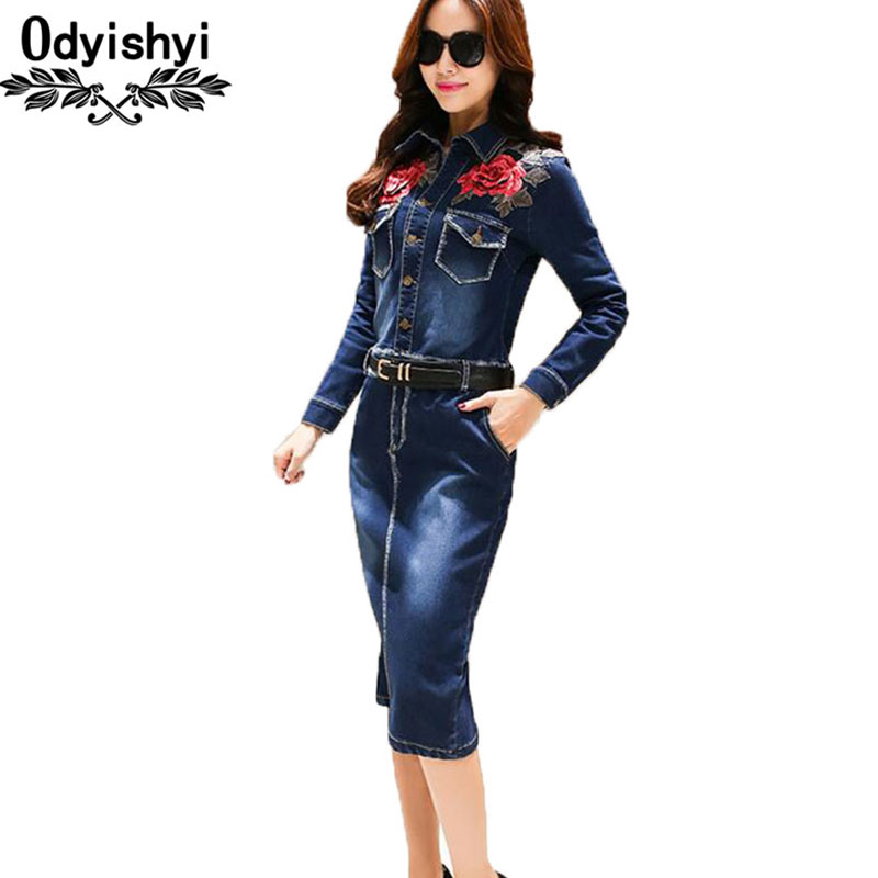 Embroidery flowers Denim Dress Women 2019 Spring New Package hip jeans Dresses Fashion Pencil cowboy Female