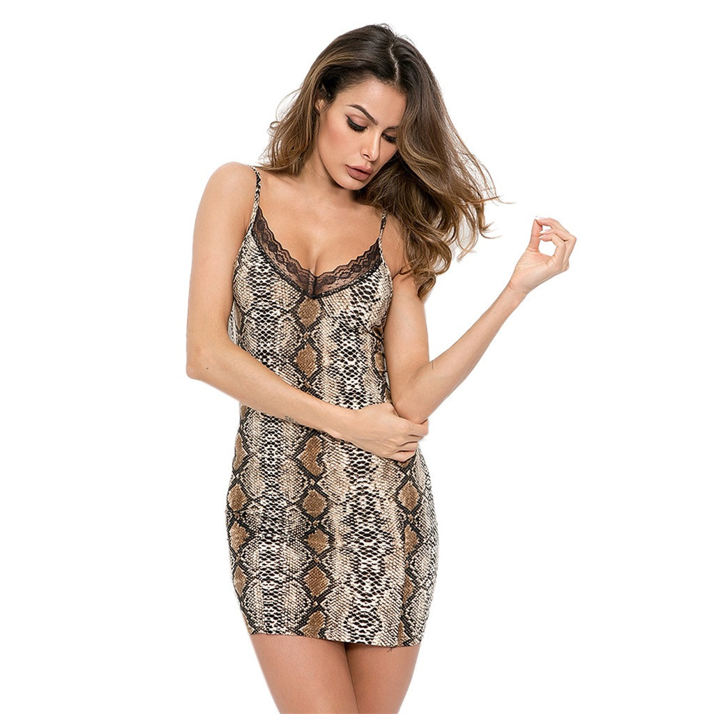 Printing Lace Brown For Ladies Women Sexy Lingerie Sleepwear Lace Dress Underwear Perspective Snake Jumpsuit #Y50