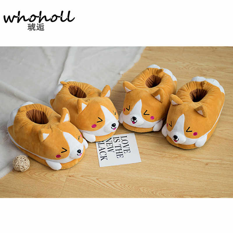 18dc95fb734 ... Homen Slippers Female Winter Plush Corgi Slippers Warm Women Indoor  Shoes Cute Funny Adult Slippers Flat ...