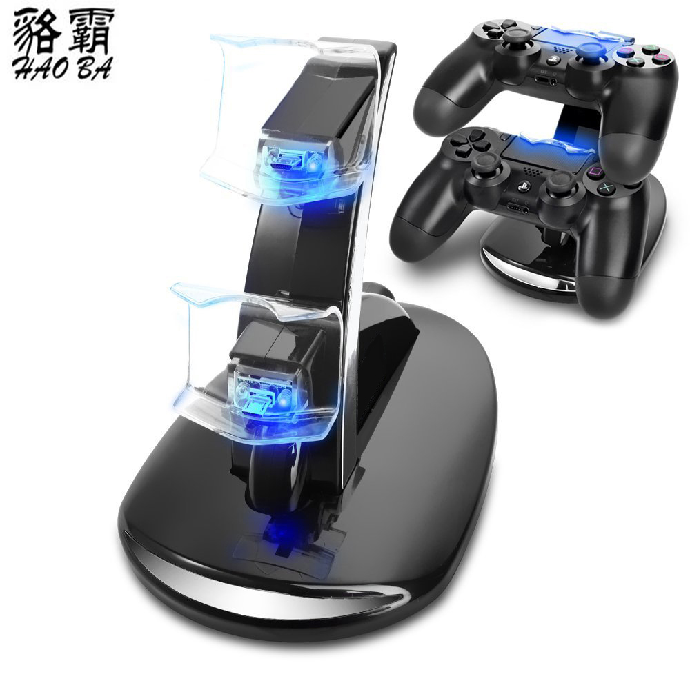HAOBA PS4 Accessories Joystick charger PS4 Charger Play Station 4 Dual Micro USB Charging Station Stand for PS4 Controller in Chargers from Consumer Electronics