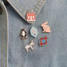 6pcs/set Cartoon Penguin Rabbit House Foal Mule Donkey Shield Brooch Pins Bag Jacket T-shirt Collar Lapel Badge Fashion Jewelry
