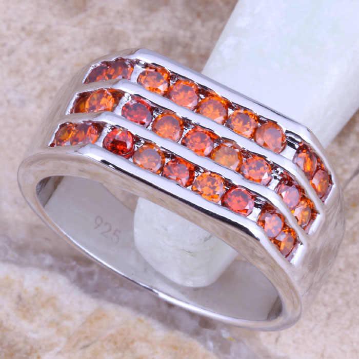 น่าอัศจรรย์สีแดงโกเมนสีเงินประทับ925สตรีแหวนขนาด6/7/8/9 R1319