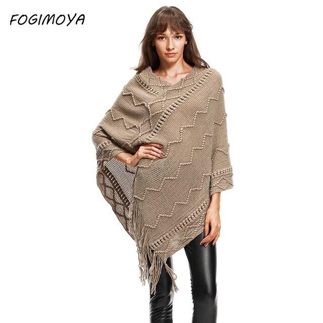 Fogimoya Однотонный свитер Для женщин осень компьютер вязаный кисточкой Лоскутные зимние выдалбливают Асимметричный свитер 2017 Пуловеры для женщин Топы корректирующие