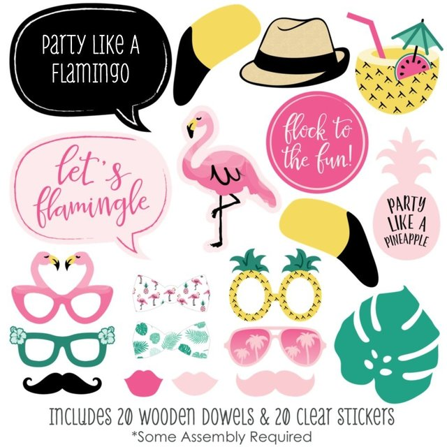 b6e6c138 1set Wedding Decoration Flamingo Photo Booth Props Tropical Summer Hen Party  Hawaii Carnival Party Supplies birthday gift favor