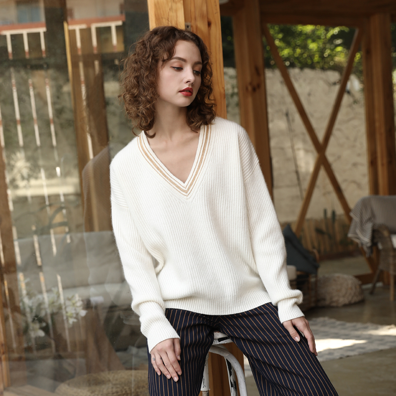 Autumn Winter Cashmere V neck Pullovers Tops 2019 100 Pure Cashmere Sweater Ribbed Knit V Neck