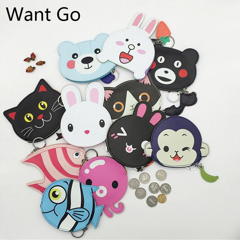Want Go Fashion Womens Coin Purse Sweet Animal Cartoon Coin Bag Cute Mini Wallets Small Purses Portable Girls Key Storage Bag