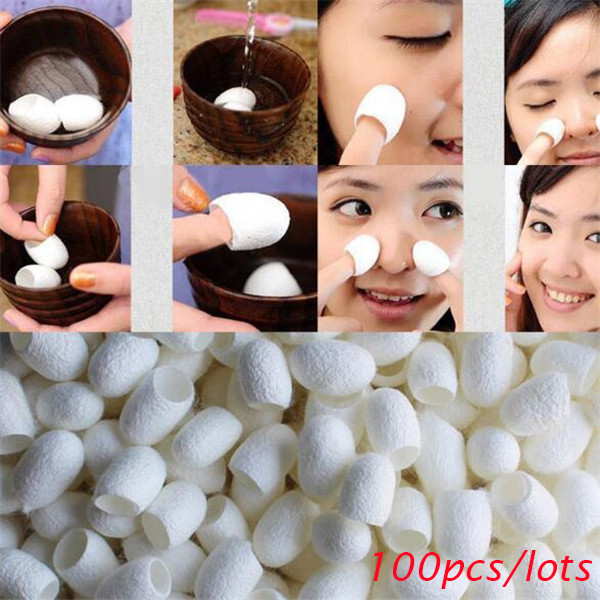 100Pcs Silkworm Balls Purifying Whitening Exfoliating Scrub Blackhead Remover Natural Silk Cocoons Facial Skin Care Best Gifts 1