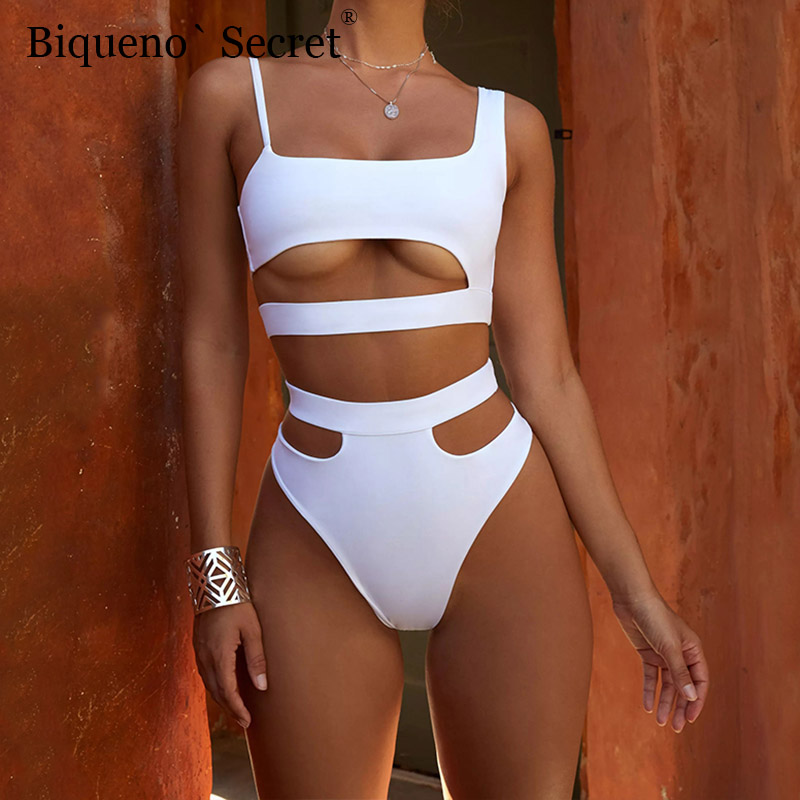 NEW White High Waist Swimwear Women Beach Wear Cut Out <font><b>Bikinis</b></font> <font><b>Sexy</b></font> <font><b>Push</b></font> <font><b>Up</b></font> Swimsuit Two Piece Bathing Suit Plus Size <font><b>Bikini</b></font> Set image