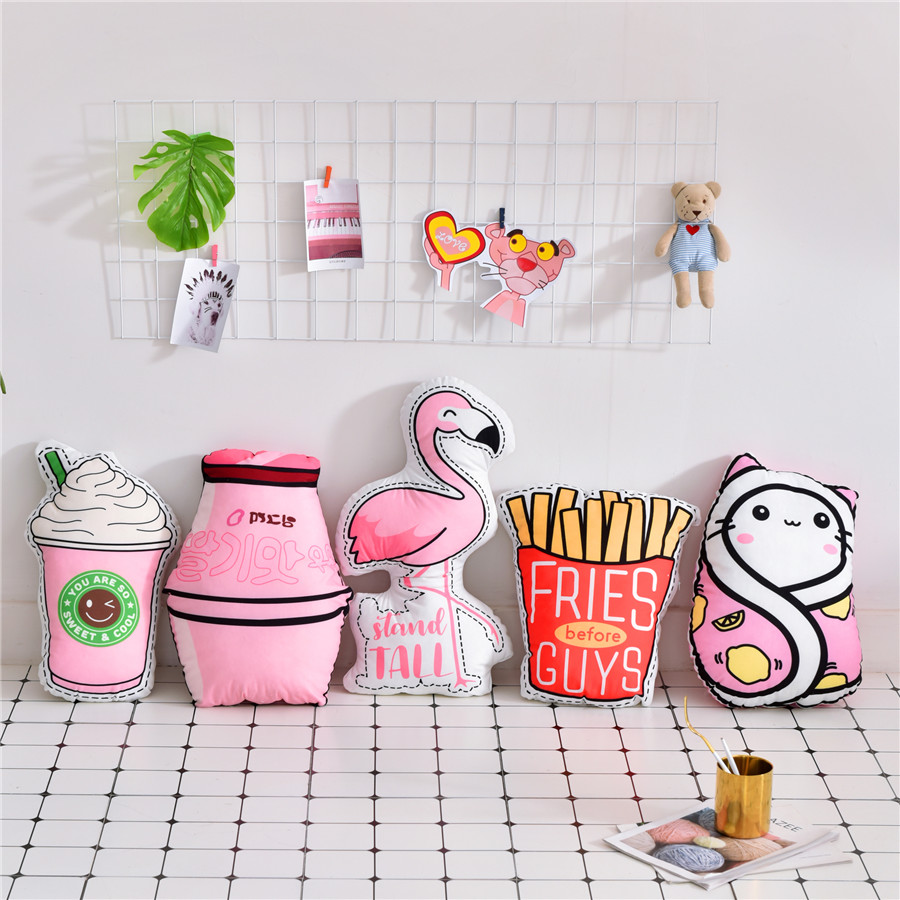 Warm Pink Flannel Cushion Flamingo Cat Shaped Cushions Bottle Ice Cream French Fries Cushions Home Decor Cartoon Seat Cushion