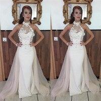 8461059c69c5c African Mermaid Satin Prom Dresses 2019 Long Detachable Train Evening Gowns  With Applique Lace White Vestidos