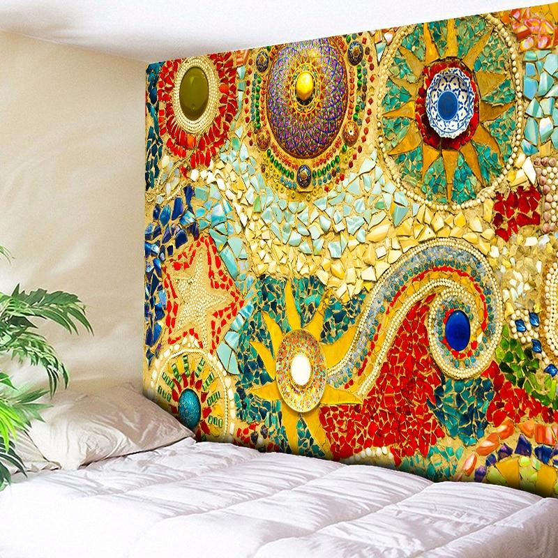 Indian Wall Hanging Tissu Boheme Mandala Tapestry 3D Jade Home Decor Living Room Background Wall Carpet Cloth Hippie Blanket
