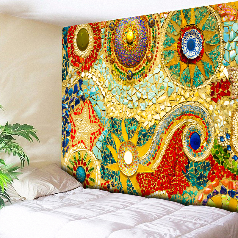 Indian Wall Hanging Tissu Boheme Mandala Tapestry 3D Jade Home Decor Living Room Background Wall Carpet Cloth Hippie Blanket