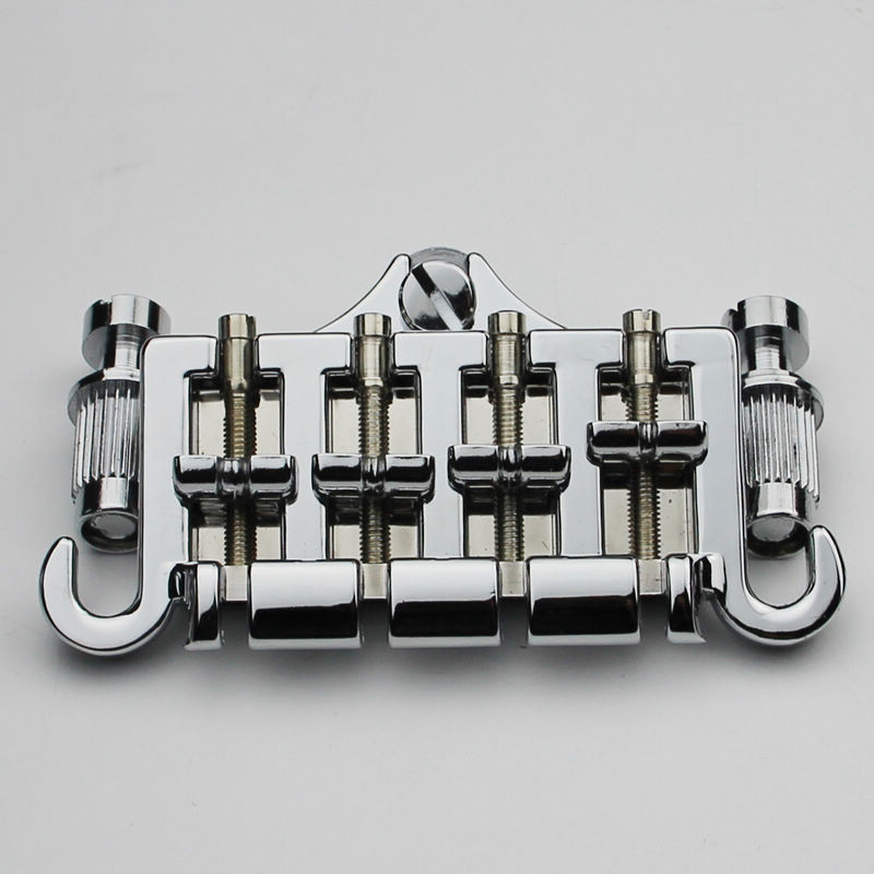 3 Point 4 String Bass Bridge Tailpiece Chrome For GBS EP Guitar Parts single guitar bridge for 3 4 5 string guitar cigar box banjo with screws wrench