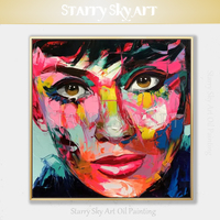 Excellent Artist Hand painted High Quality Palette Knife Abstract Super Star Figures Oil Painting Francoise Nielly Oil Painting