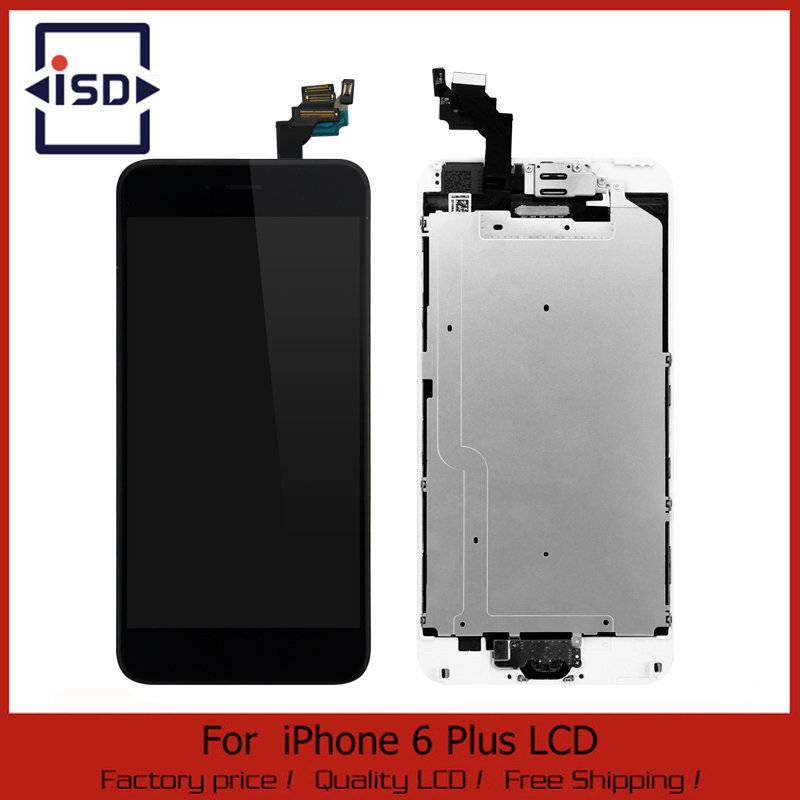 ФОТО 10Pcs/lot White&black For iphone 6 Plus 5.5 LCD Display Touch Screen digitizer+Home button+Front camera Assembly Free Shipping