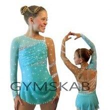 Изящное шикарное платье для фигурного катания для девочек, платье для катания на коньках по индивидуальному заказу, костюм для гимнастики с длинными рукавами 8884