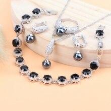 Черный жемчуг, Свадебные Ювелирные наборы для женщин, серебро 925, свадебные ювелирные изделия, циркониевые серьги, браслеты, кольца, кулон, ожерелье, набор, подарочная коробка