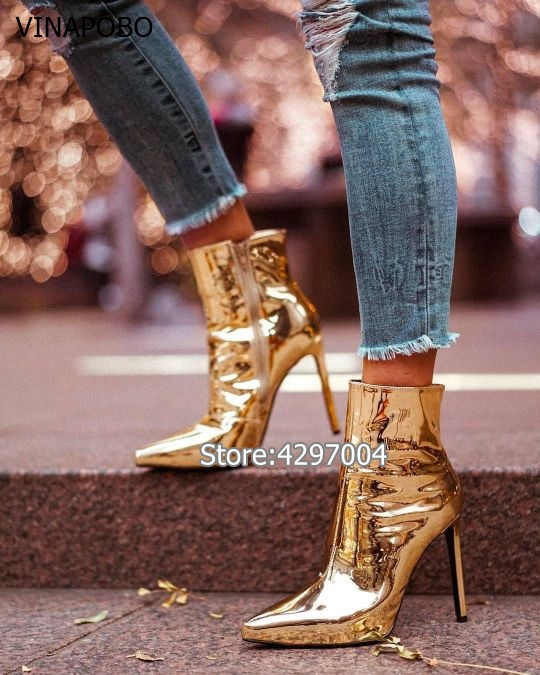 Hot Fashion Woman Mirror Gold Silver Boots Metallic Leather Ankle Boots Pointed Toe High Heels Ladies