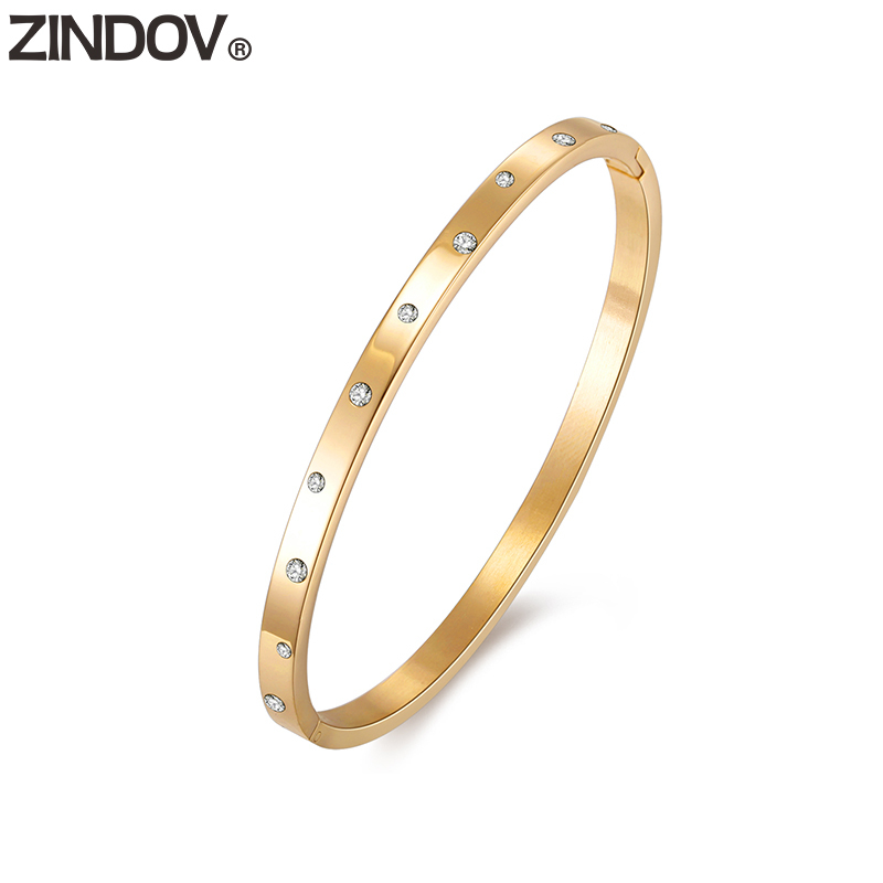 ZINDOV Gold Bangle Bracelet Stainless Steel Women Fashion Jewelry Crystal Slim Wristband Rose Gold For Lady Girls Dropshipping dropshipping women rose gold