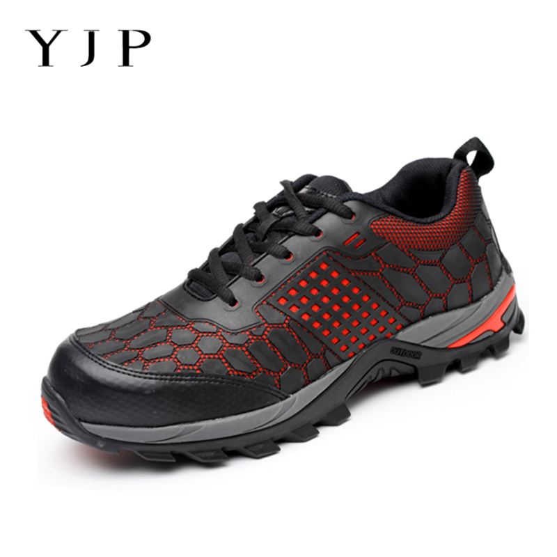 YJP Steel Toe Lightweight Bulletproof Men Work Safety Shoes Men Boots Anti-puncture Breathable Casual Hiking Work Ankle Boots new exhibition fashion safety shoes men outdoor steel toe cap anti puncture boots lightweight and breathable casual work shoes