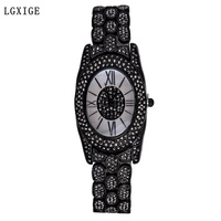 LGXIGE Brand Women Watches Black Retro Style Ladies Wrist Watch 2018 Fashion Diamond Luxury Female Quartz Watch montre femme