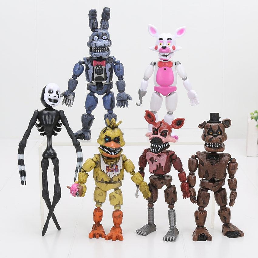 6pcs/Set 12-18cm Five Nights At Freddy's Figure FNAF Toys Bonnie Foxy Freddy Fazbear Bear Mangle Doll PVC Action Toy Figures