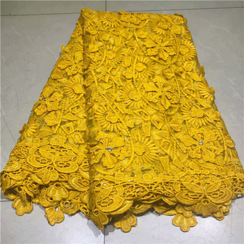 Beautiful yellow wedding French net lace series African net lace fabric with  rhinstones for dress VRN231(5yards/lot)