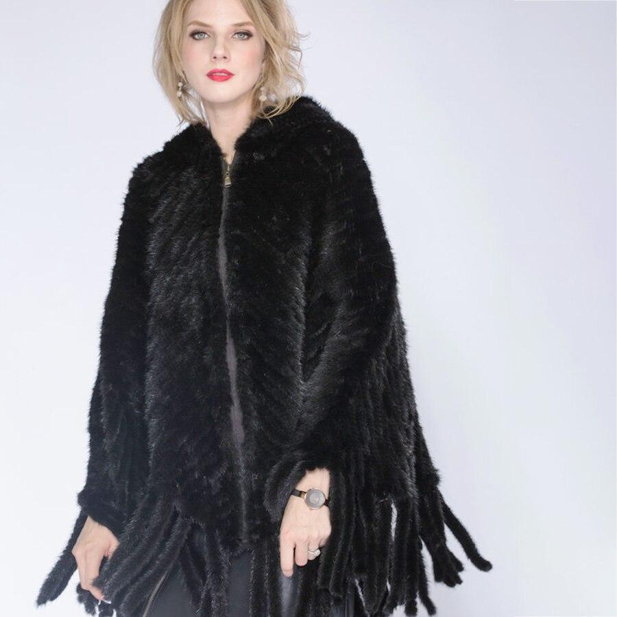 Mode Femmes Fourrure noir Manteau En Turquoise 2018 Chapeau Châle Dame Véritable Hiver Tricot Vison De Z0qBtwd