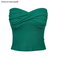 A Forever Summer 2018 Women Pleated Yarn Bra Wrapped Short Sexy Crop Tops Vest Slim Halter
