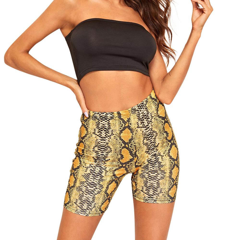 Fashion Women Summer Sexy Snakeskin Print Fitness Leggings Sports Tight Plus Size Casual Mid Elastic Waist Skinny Cycling Short For 2019