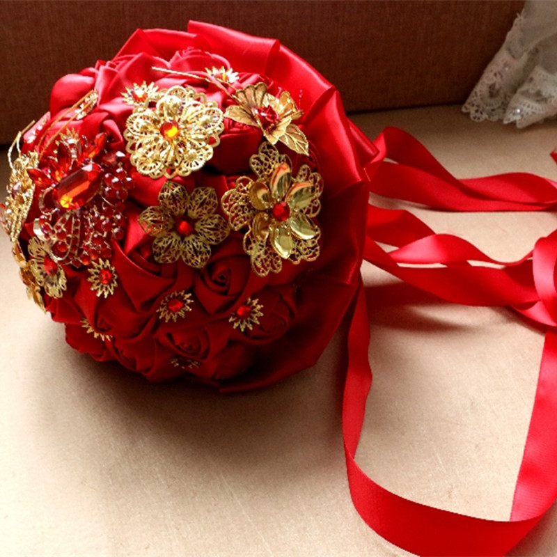 Bouquet Sposa Online.Chinese Headdress Gold Red Brooch Wedding Bouquets Ramo De Novia