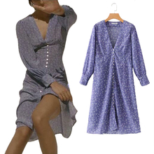 Women Long Sleeve Summer Dress Poem Floral Print Purple Wrap Dress V Neck Bottom Split Sexy Club Wear Casual Clothing