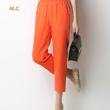 Tencel pants for women casual capris new fashion plus size summer autumn spring straight pants 6 colour elastic waist wdl0601