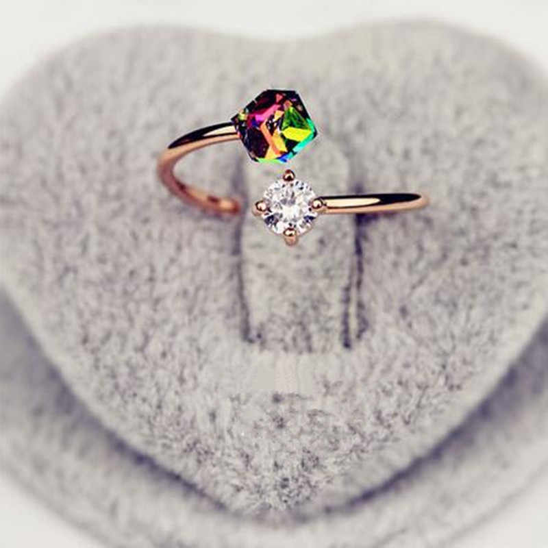 ของขวัญวันวาเลนไทน์กุหลาบย้อนยุคทองแหวนเกาหลีรุ่นแหวนสำหรับผู้หญิง 8RD36