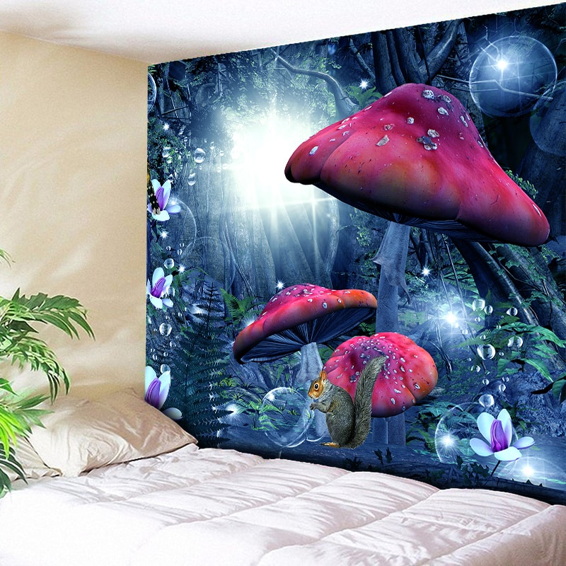 Magic Forest Tapestry Wall Hanging Red Mushroom Decorative Wall Tapestries Art Wall Carpet Home Decor Boho Hippie Tapestry L59in