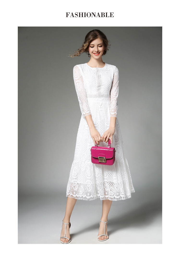 Elegant Women Long White Lace Dress Vetement Femme 2017 Robe Longue Ladies Summer Maxi Dress Dames Jurken K942578 5