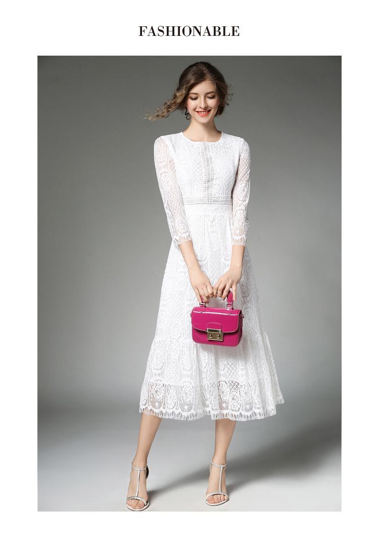 Elegant O-neck A-line White Lace Dress