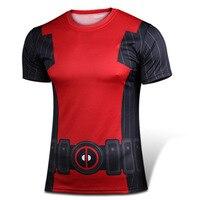 2016 NEW Marvel anime Deadpool t shirt Men's Short sleeve O neck fitness t shirts men