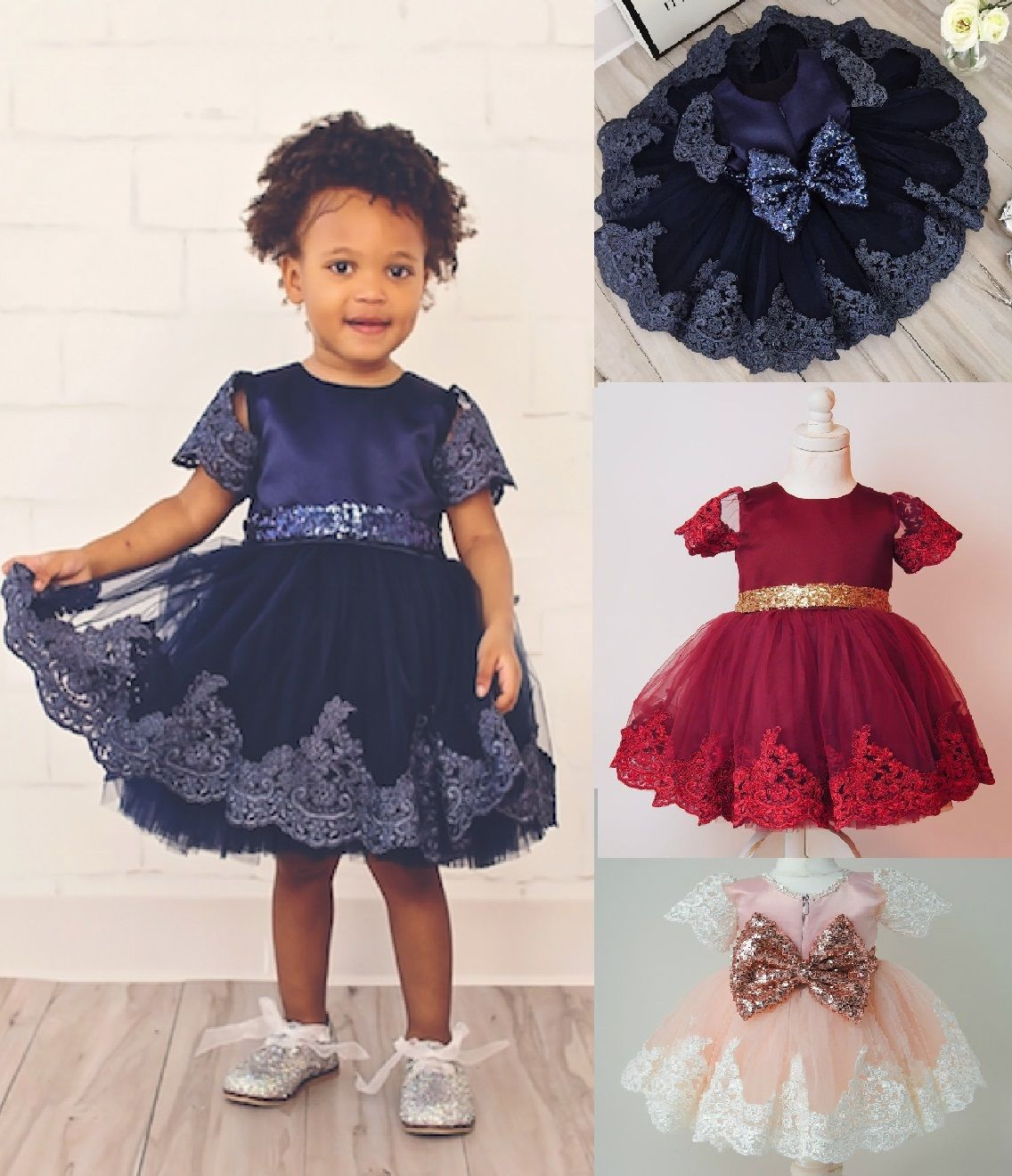 2017 New <font><b>Baby</b></font> Girls Princess <font><b>Dress</b></font> Clothes Short Sleeve Lace Bow Ball Gown Tutu Party <font><b>Dress</b></font> Toddler Kids <font><b>Fancy</b></font> <font><b>Dress</b></font> 0-7Y image