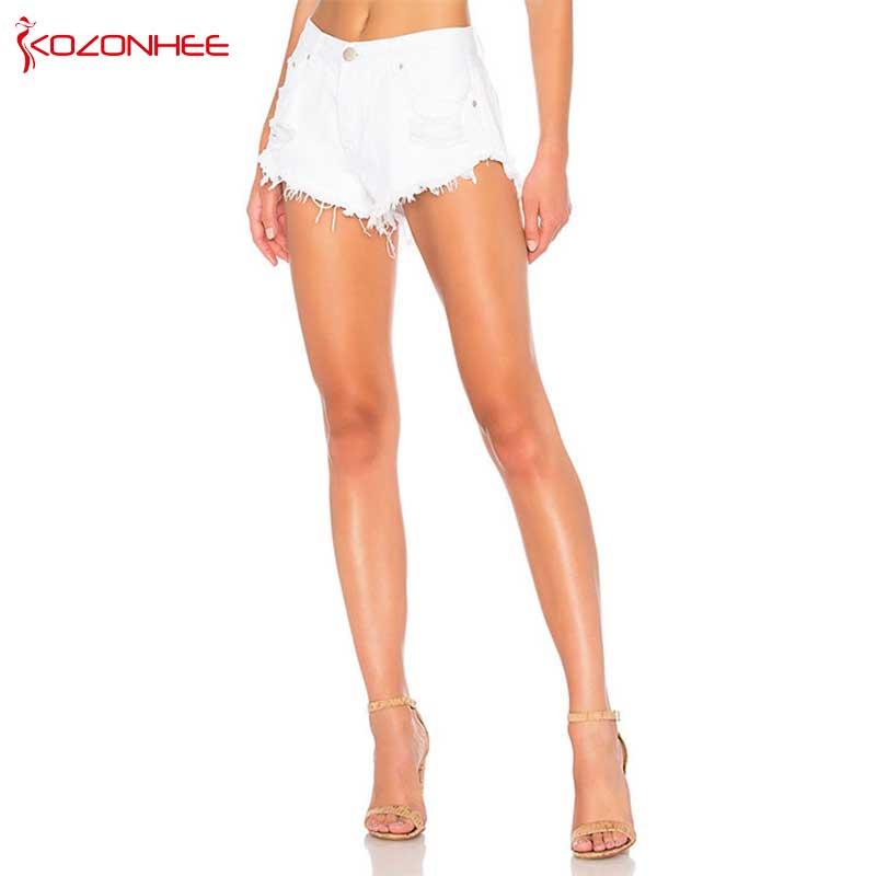 White Inelastic Hole Women Denim   Shorts   With Mid Waist Ripped Tassel Female Summer   Shorts   For Women's jeans T51
