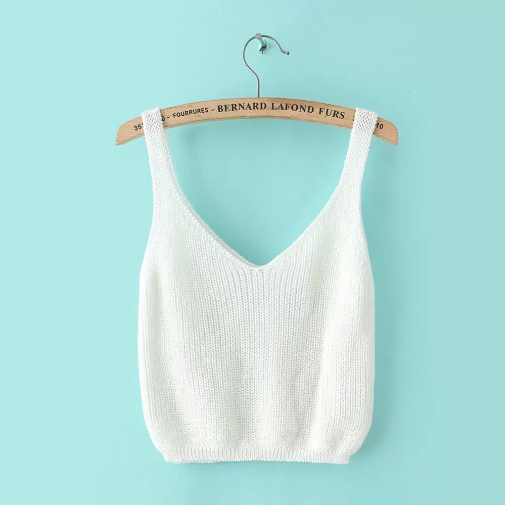 Cropped Strappy Bra Crop Tops None Short Solid New 2016 Crop Top Tanks Small Vest Women Loose Tops Strap Knitting Cotton Tank L4