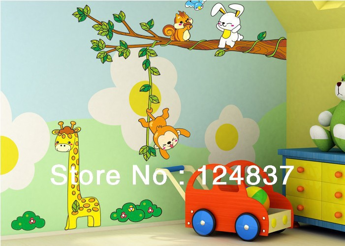 giraffe monkey tree wall stickers kid room sticker home
