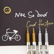 Caneta de papelaria cor de metal artesanato, caneta marcadora de tinta dourada e prateada 1.5mm